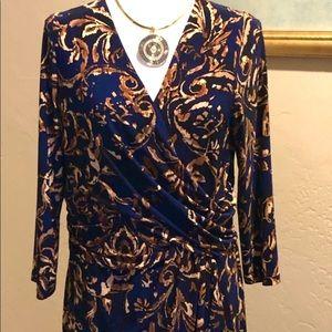 Chaps Navy Print Dress Size XL